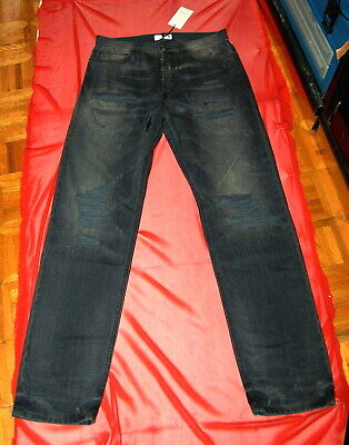 "NWT FAITH CONNEXION men black destroyed denim jeans tag sz 32 - W 35.5"" made big"