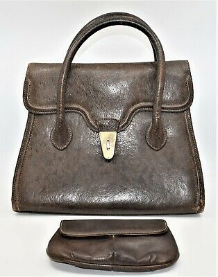 Vintage Gucci Brown Leather Purse Large Hand Bag & Cosmetics Bag Italy