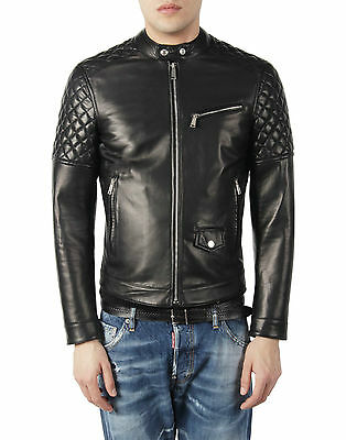 DE Herren Lederjacke Biker Men's Leather Jacket Coat Homme Veste En cuir R4