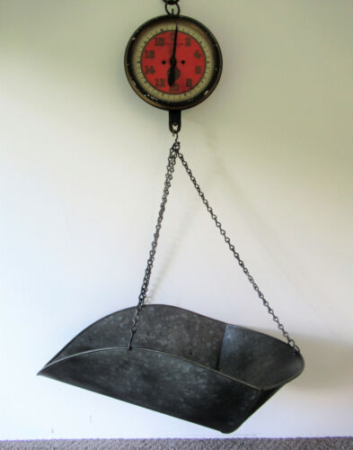 Antique Hanging Scale with Tray, CHATILLON 20 lb, Original Red & Black Paint