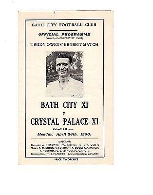 Bath City v Crystal Palace 24.4.1950 Teddy Owens Testimonial