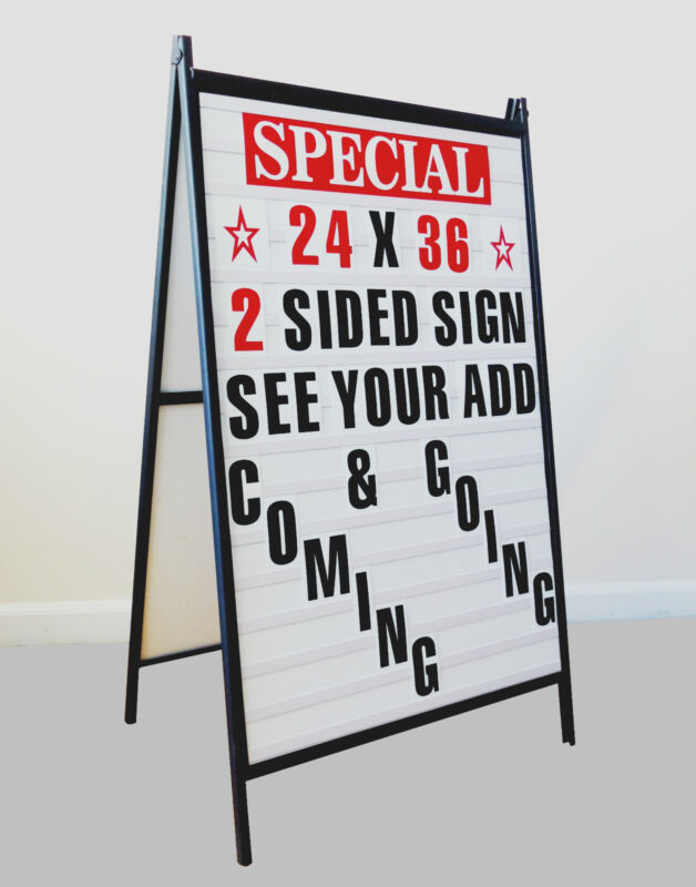 New Sidewalk A Frame changeable Message Letters Sign with 4 inch Letters set