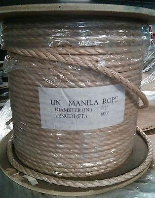 "1/2"" x 600' UNManila Tan Polypropylene 3-Strand Twisted Rope"