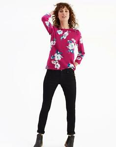 Joules Womens Harbour Print Jersey Top Shirt in Ruby Poppy Size 6