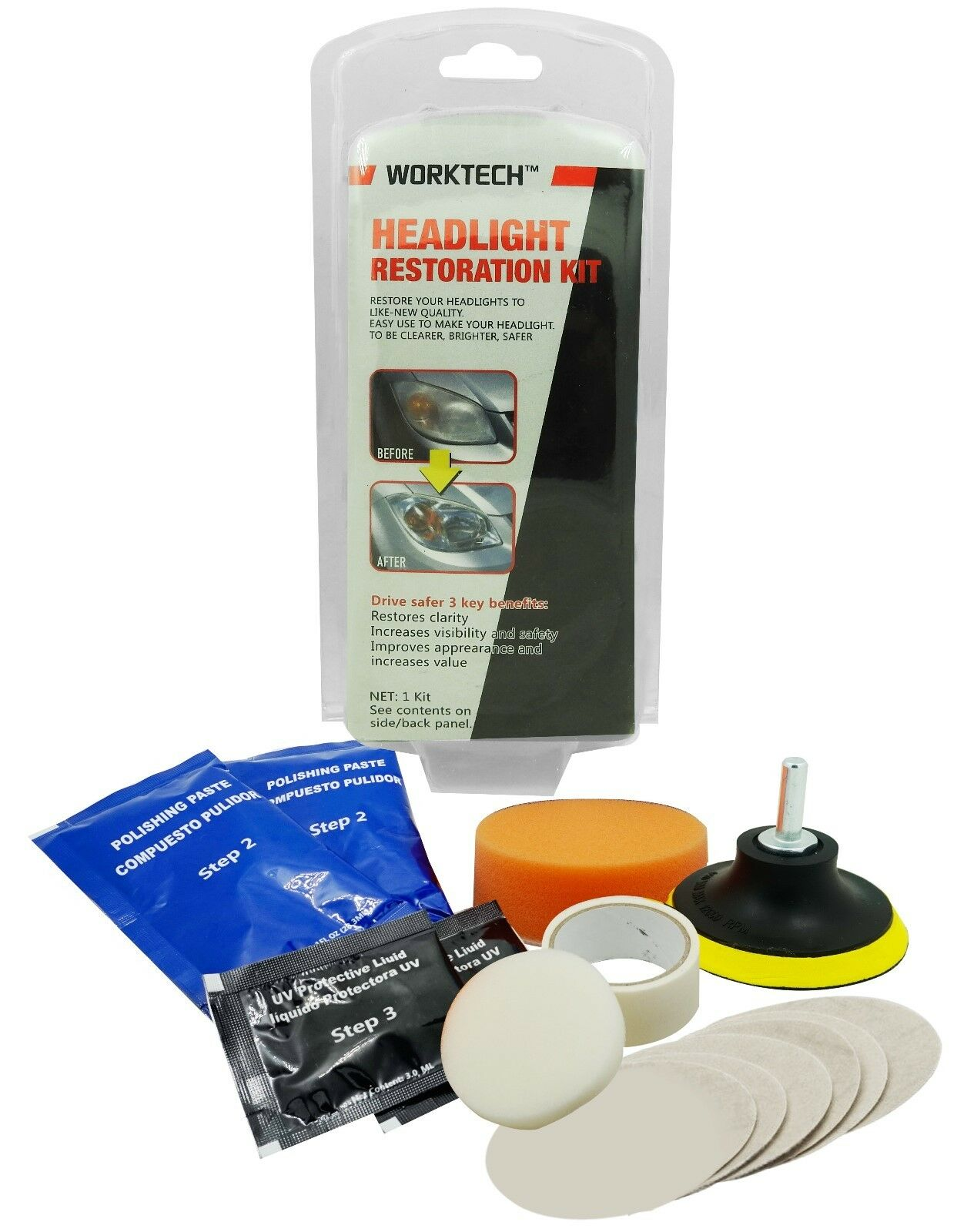 WorkTech Premium Headlight Lens Restoration Kit   Shine Polisher Cleaner Fix DIY