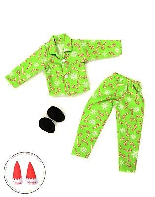 Christmas Elf Clothes Green Candy Cane Pajamas Lot W/Shoes New For On The Shelf](Clothes For The Elf On The Shelf)