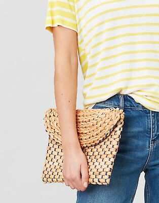 Joules Womens Hadden Woven Straw Flap Over Clutch Bag - NATURAL in One Size