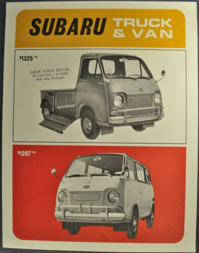 1969-1970 Subaru Pickup Truck & Van Sales Brochure Sheet Excellent Original