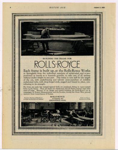 1922 Rolls Royce Automobile Ad: Rolls Royce Works Springfield, MA Interior Pics