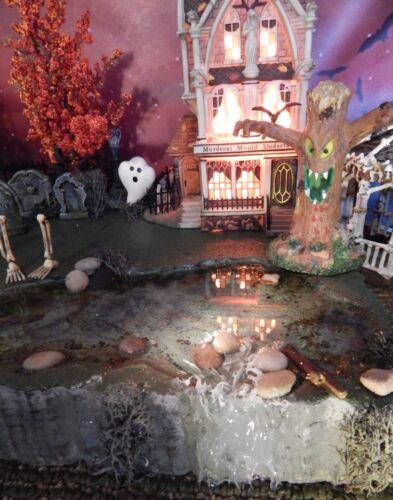 SPoOkY Halloween Village SWAMP pond WATERFALL Dept 56 Display platform base
