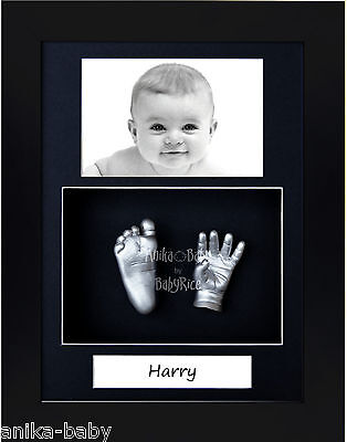 3D Baby Casting Kit Portrait Silver Hand Foot Cast Black Frame Christening Gift