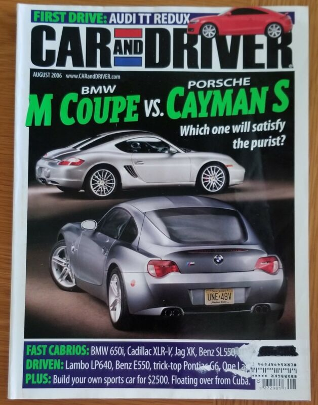 Car And Driver August 2006, BMW M Coupe & Porsche Cayman S Cover, VG Condition