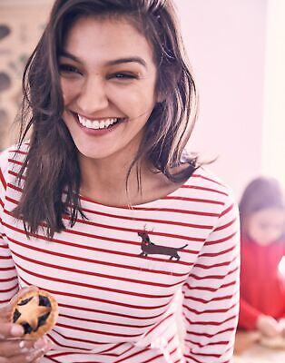 Joules Womens Harbour Embroidered Long Sleeve Jersey Top Shirt - YULE DOG STRIPE