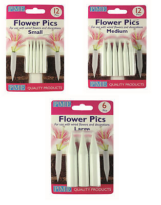 Flower Picks (PME Flower Floral Picks Pics Sugarcraft Flower Holder Cake Decorating Tool)