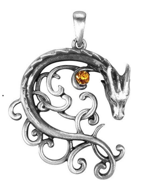 Ebros Celtic Dragon Heart Scrollwork Lace With Gemstone Jewelry Pewter Necklace