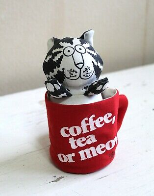 "B Kliban Stuffed Cotton Cat in Mug ""Coffee Tea or Meow"" Knickerbocker Toy 1980"