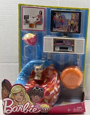 Barbie Dinner And Movie Fun Furniture And Accessories Set NEW