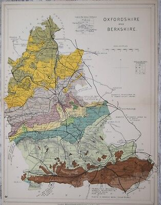 OXFORDHIRE AND BERKSHIRE - STANFORD'S GEOLOGICAL ATLAS, PUBLISHED 1914.