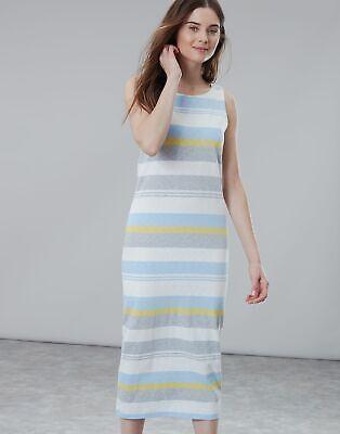 Joules Womens Riva Midi Length Jersey Dress - BLUE GREY LEMON STRIPE