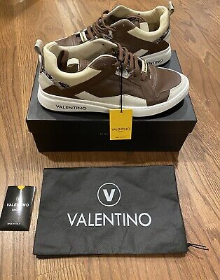 $449 Mens Authentic Valentino Donald Snake Print Leather Sneaker US 12