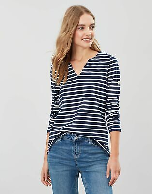 Joules Womens Harbour Notch Neck Jersey Top Shirt - NAVY CREAM STRIPE