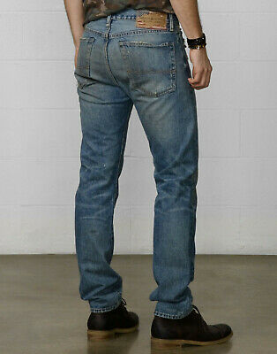 NEW mens Denim Supply Ralph Lauren Slouch fit Davis jeans 33x32 38x32