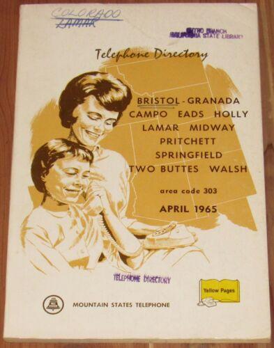 1965 COLORADO TELEPHONE DIRECTORY, AREA CODE 303, BRISTOL, GRANADA, CAMPO, EADS