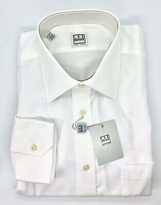 IKE BEHAR NEW YORK WHITE 100% Cotton Dress Shirt Size 16 - 34/35  Long Sleeve
