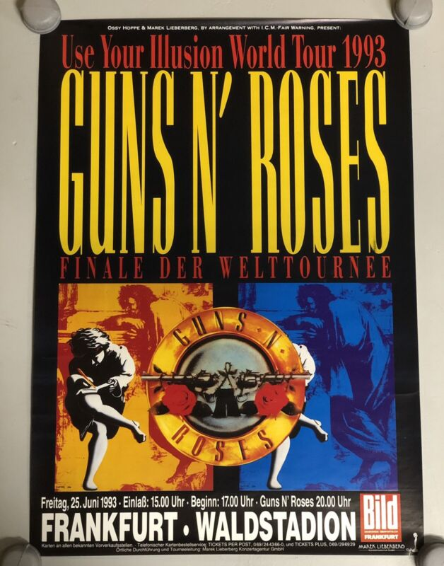 Guns N' Roses Use Your Illusion German Tour Poster Frankfurt Germany New Rare