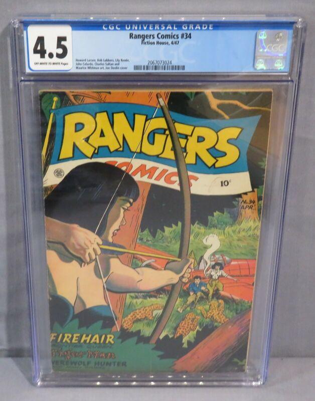 RANGERS COMICS #34 (Firehair) CGC 4.5 VG- Golden Age Book  Fiction House 1947
