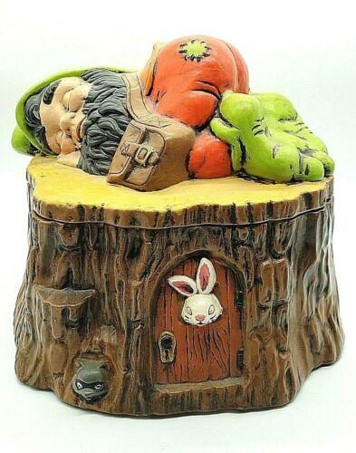 Vintage Sleeping Gnome Black Beard on Tree Trunk Cookie Jar