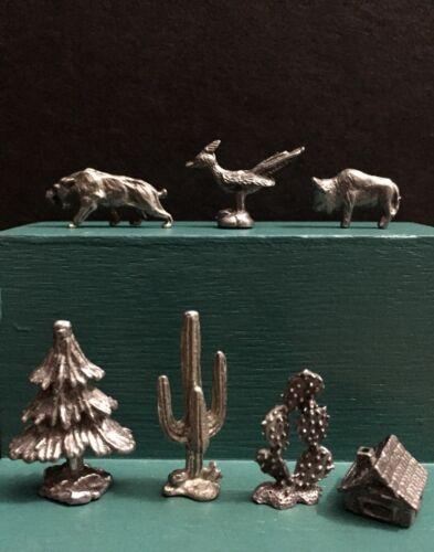 Pewter Western Desert Animals Bobcat Roadrunner Wildlife Miniature Figurine Lot