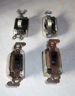 4PCS. LOT VINTAGE AND ANTIQUE ELECT.SWITCHES, PORCELIAN & BRASS  ALL WORK.