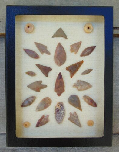 N3) 6X8 Framed Neolithic Artifacts display arrowheads beads points arrow head