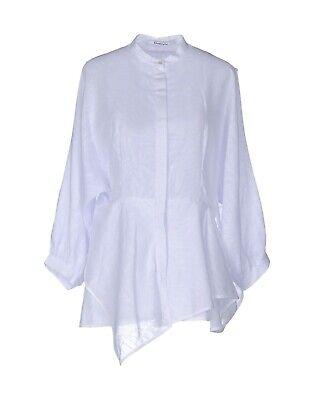 "New CHALAYAN white ""diagonal"" designer blouse Italy 42 US 4 -6 Small"