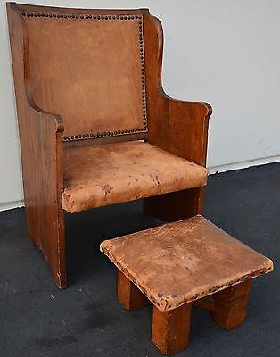 Antique Arts & Crafts Oak Chair Stool Mission Craftsman Wylie Lochhead Scottish