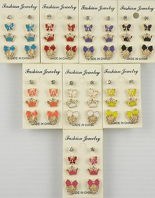 Small Butterfly Earrings - Small Stud Earrings Butterfly, Crown and Bow Shapes Assorted Colors