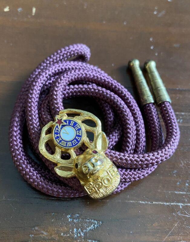 Vintage Elks BPOE Bolo Tie - Benevolent Protective Order of 11 O'Clock 11th Hour