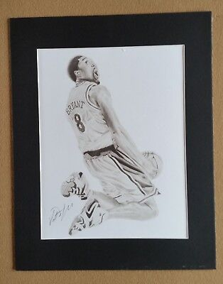 - Kobe Bryant Pencil Art Print With Mat Frame Signed by Artist