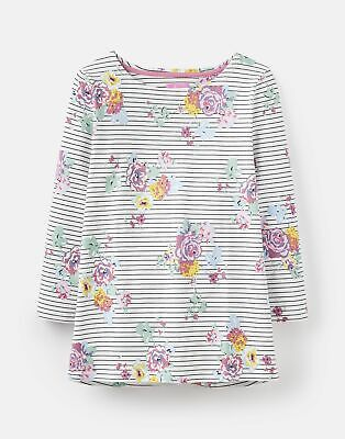 Joules  209052 3/4 Length Sleeve Jersey Printed Top - CREAM NAVY FLORAL