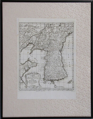 "A Very Rare/Important Korean Peninsula Map/MER DE COREE ""대한해협"": -18th C."