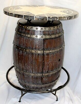Barrel Pub Style Bar Table w/ Marble Top & Wine/Liquor Cabinet