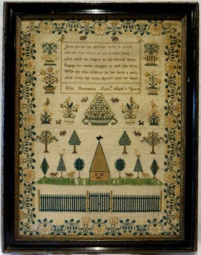 EARLY 19TH CENTURY MOTIF & VERSE SAMPLER BY ELLEN DEVONSHIRE AGED 9 - 1835