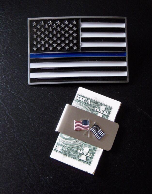 BLUE LIVES MATTER Flag Money Clip & Belt Buckle