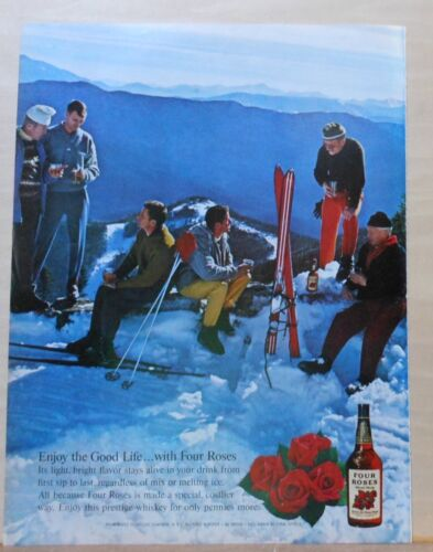 1962 magazine ad for Four Roses Whiskey - skiers on the slopes enjoy drinks