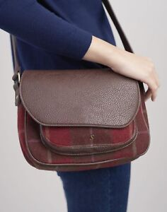 Joules Womens Darby Tweed Saddle Bag ONE in RED CHECK in One Size