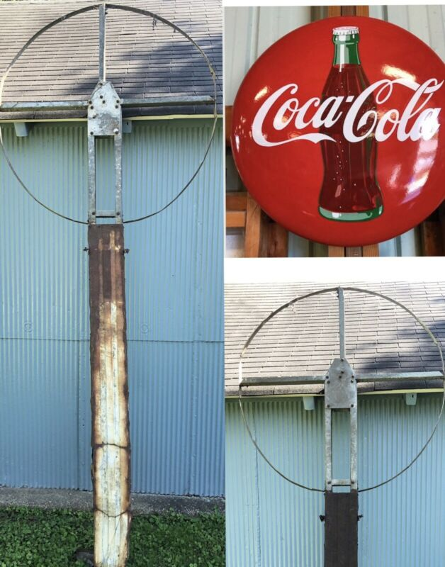 "Original Antique 1950s Porcelain 48"" Coca Cola Button Sign ""BRACKET POLE"" 10 FT"