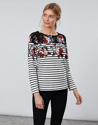 Joules Womens Harbour Print Long Sleeve Jersey Top Shirt - BLACK BORDER PEONY