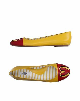 AW14 $695 Moschino Couture Jeremy Scott McDonalds Fast Food Leather Ballet Flats Moschino Leather Flats