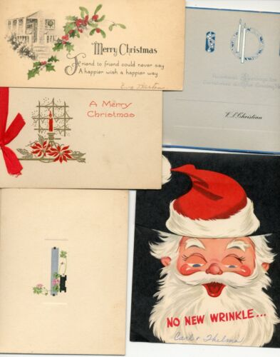 5 VINTAGE USED CHRISTMAS CARDS W/ SANTA HOLLY CANDLES SNOW ETC.  C2